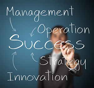 man writing: managment, operation, success, strategy, innovation